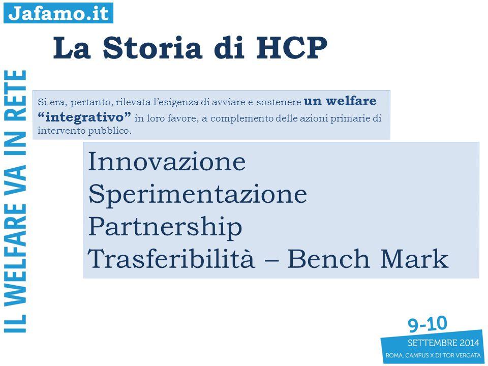 La Storia di HCP Innovazione Sperimentazione Partnership Trasferibilità – Bench Mark Si era, pertanto, rilevata l'esigenza di avviare e sostenere un welfare integrativo in loro favore, a complemento delle azioni primarie di intervento pubblico.