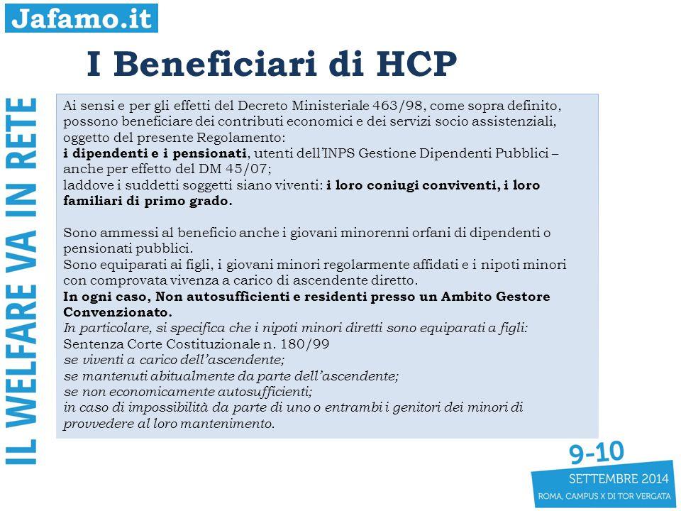 I Beneficiari di HCP Ai sensi e per gli effetti del Decreto Ministeriale 463/98, come sopra definito, possono beneficiare dei contributi economici e d