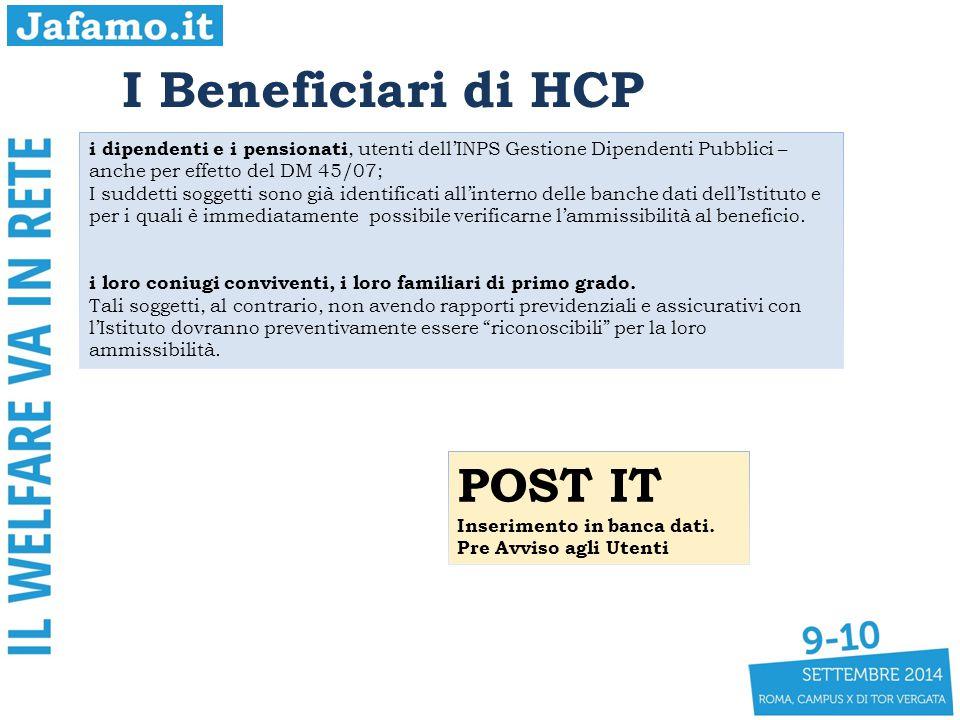 I Beneficiari di HCP i dipendenti e i pensionati, utenti dell'INPS Gestione Dipendenti Pubblici – anche per effetto del DM 45/07; I suddetti soggetti sono già identificati all'interno delle banche dati dell'Istituto e per i quali è immediatamente possibile verificarne l'ammissibilità al beneficio.