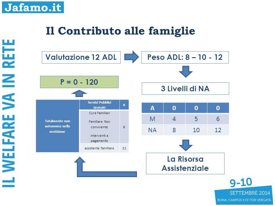 Il Contributo alle famiglie Valutazione 12 ADLPeso ADL: 8 – 10 - 12 3 Livelli di NA A000 M456 NA81012 La Risorsa Assistenziale Totalmente non autonomo