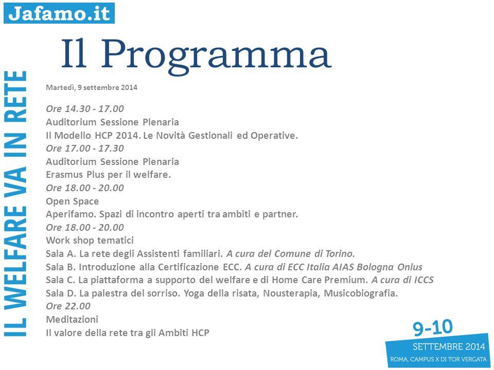 Il Programma Martedì, 9 settembre 2014 Ore 14.30 - 17.00 Auditorium Sessione Plenaria Il Modello HCP 2014. Le Novità Gestionali ed Operative. Ore 17.0