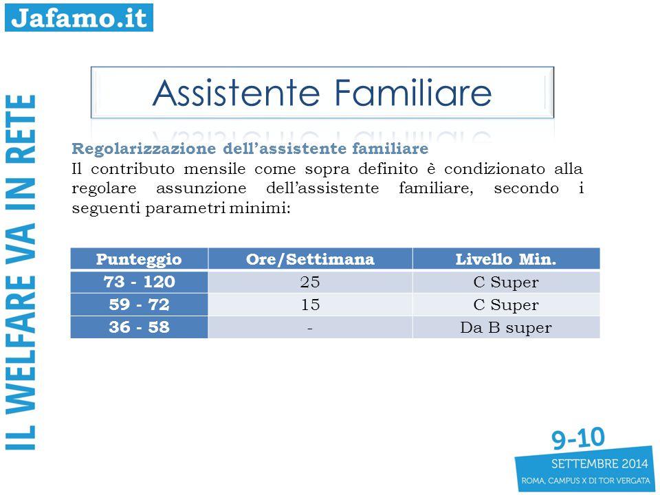PunteggioOre/SettimanaLivello Min. 73 - 120 25C Super 59 - 72 15C Super 36 - 58 -Da B super Regolarizzazione dell'assistente familiare Il contributo m