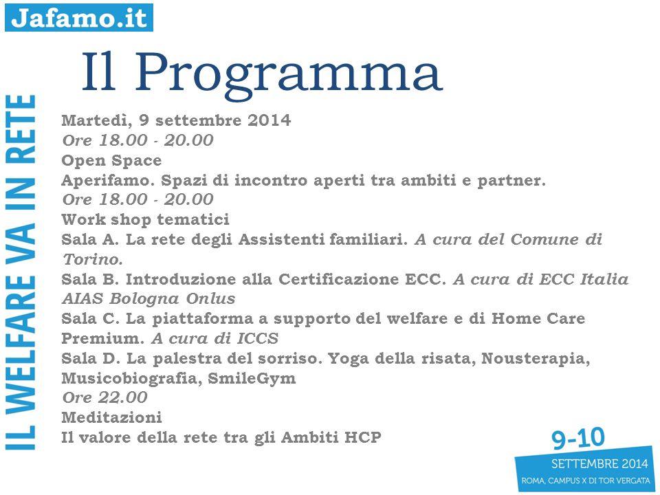 Il Programma Martedì, 9 settembre 2014 Ore 18.00 - 20.00 Open Space Aperifamo.