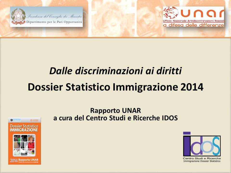 Dalle discriminazioni ai diritti Dossier Statistico Immigrazione 2014 Rapporto UNAR a cura del Centro Studi e Ricerche IDOS Dalle discriminazioni ai d