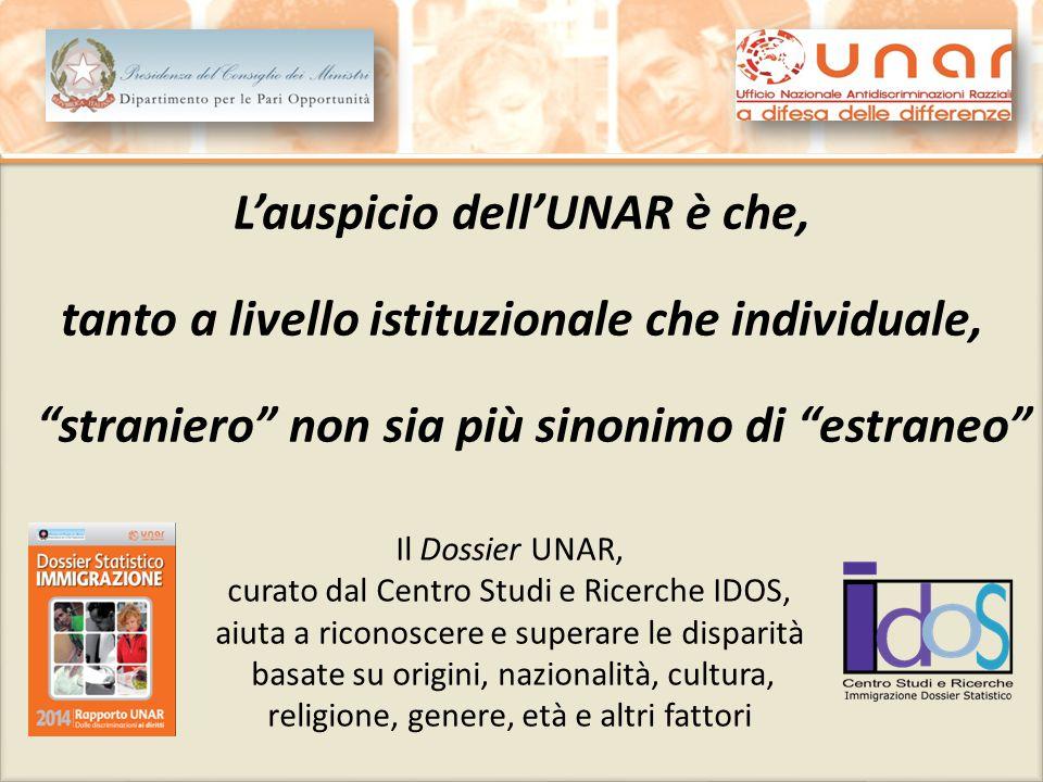 """L'auspicio dell'UNAR è che, tanto a livello istituzionale che individuale, """"straniero"""" non sia più sinonimo di """"estraneo"""" L'auspicio dell'UNAR è che,"""