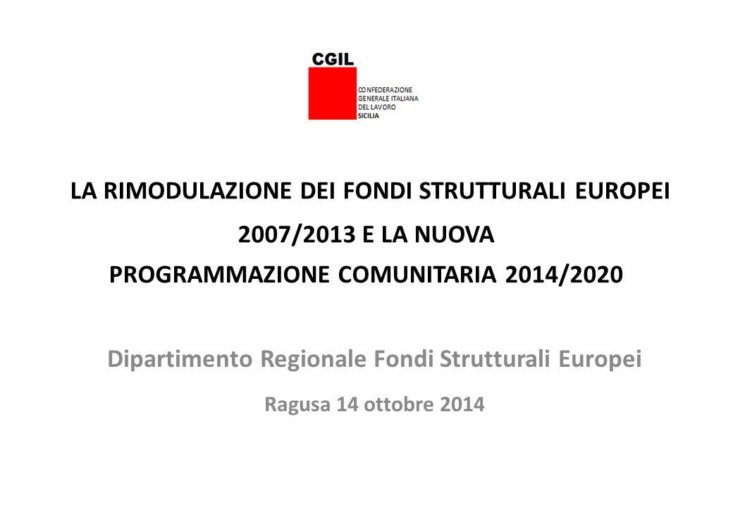 LA RIMODULAZIONE DEI FONDI STRUTTURALI EUROPEI 2007/2013 E LA NUOVA PROGRAMMAZIONE COMUNITARIA 2014/2020 Dipartimento Regionale Fondi Strutturali Euro
