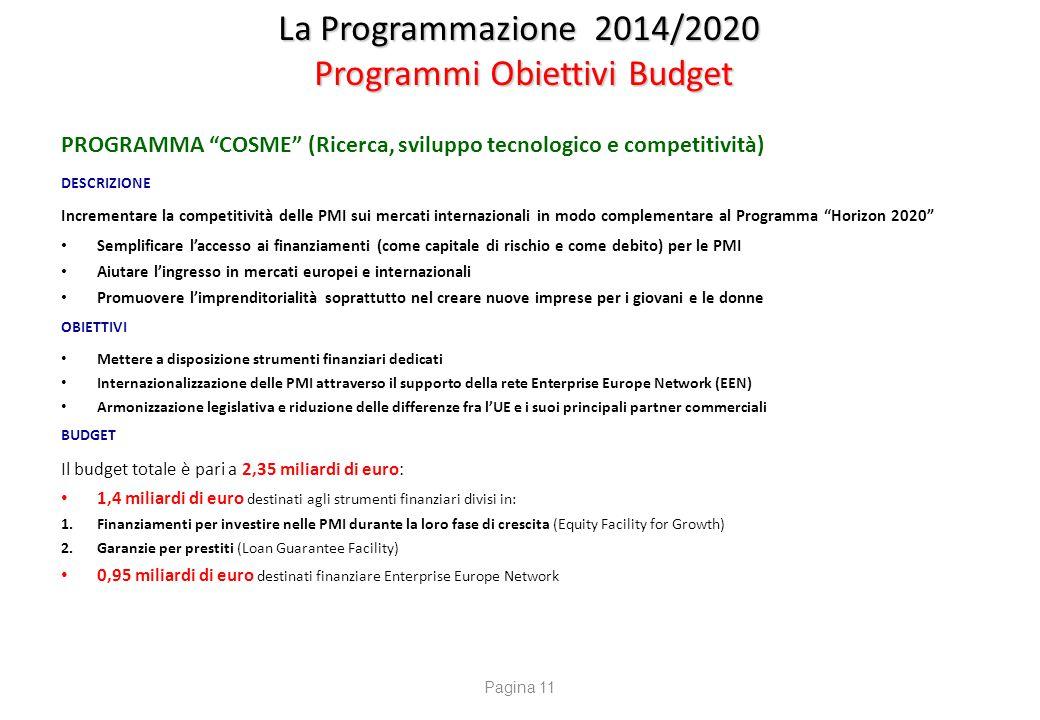 """La Programmazione 2014/2020 Programmi Obiettivi Budget PROGRAMMA """"COSME"""" (Ricerca, sviluppo tecnologico e competitività) DESCRIZIONE Incrementare la c"""