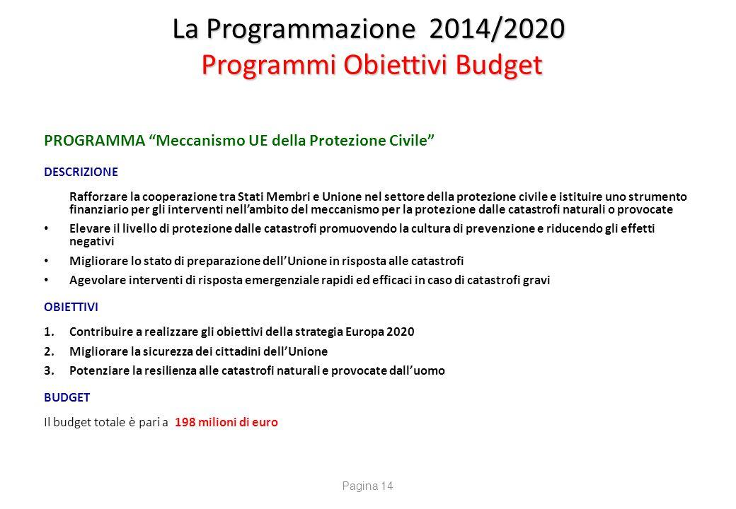 """La Programmazione 2014/2020 Programmi Obiettivi Budget PROGRAMMA """"Meccanismo UE della Protezione Civile"""" DESCRIZIONE Rafforzare la cooperazione tra St"""