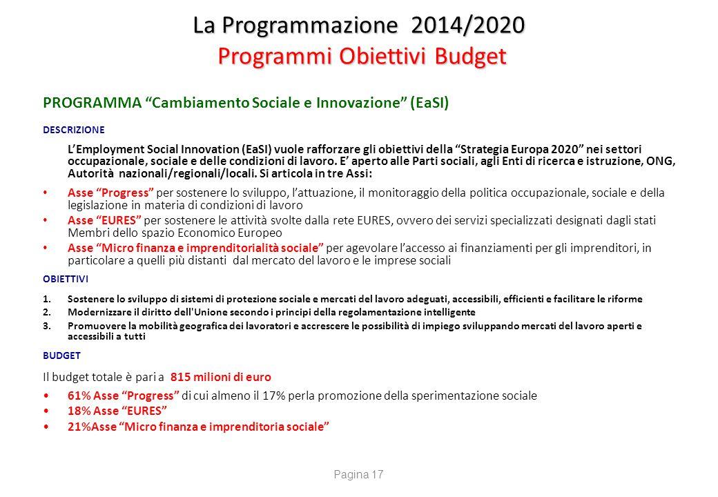 """La Programmazione 2014/2020 Programmi Obiettivi Budget PROGRAMMA """"Cambiamento Sociale e Innovazione"""" (EaSI) DESCRIZIONE L'Employment Social Innovation"""