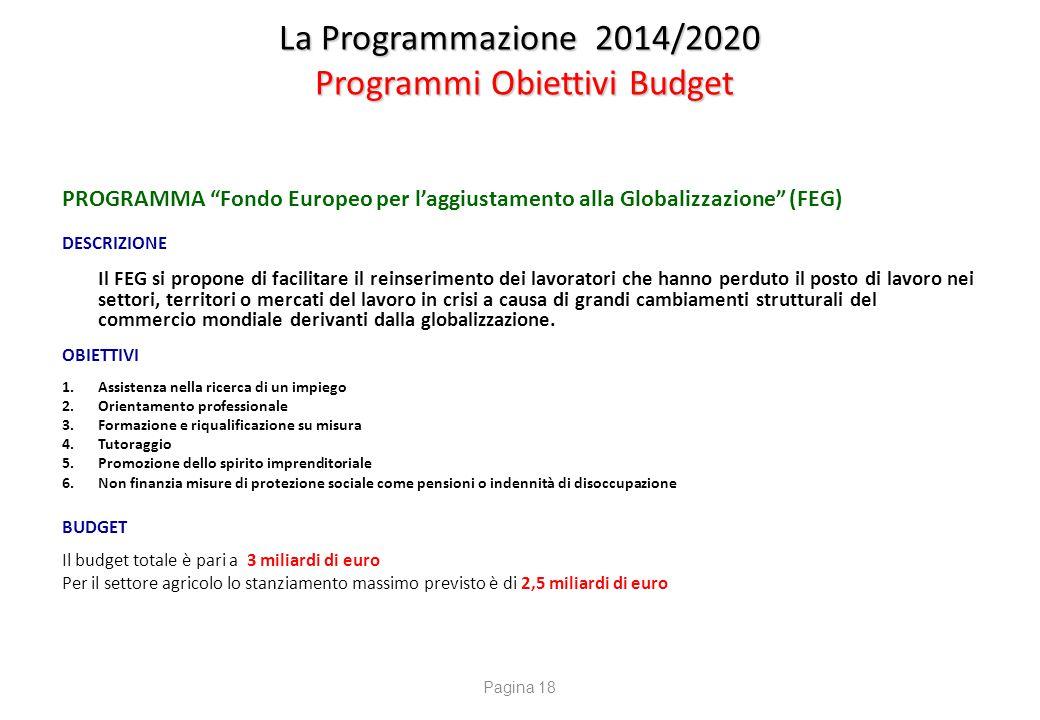 """La Programmazione 2014/2020 Programmi Obiettivi Budget PROGRAMMA """"Fondo Europeo per l'aggiustamento alla Globalizzazione"""" (FEG) DESCRIZIONE Il FEG si"""