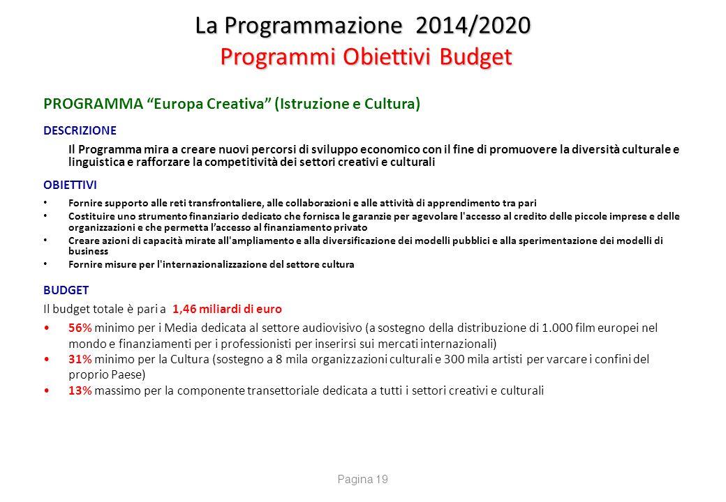 """La Programmazione 2014/2020 Programmi Obiettivi Budget PROGRAMMA """"Europa Creativa"""" (Istruzione e Cultura) DESCRIZIONE Il Programma mira a creare nuovi"""