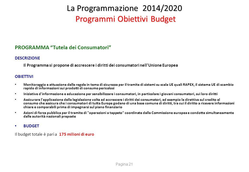 """La Programmazione 2014/2020 Programmi Obiettivi Budget PROGRAMMA """"Tutela dei Consumatori"""" DESCRIZIONE Il Programma si propone di accrescere i diritti"""