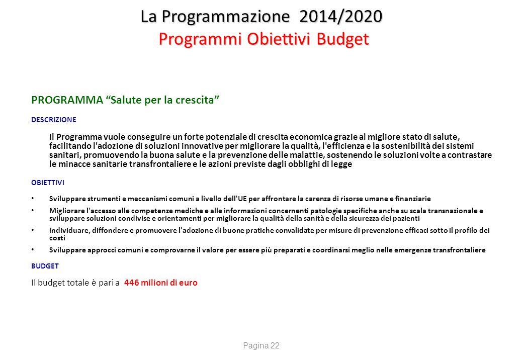 """La Programmazione 2014/2020 Programmi Obiettivi Budget PROGRAMMA """"Salute per la crescita"""" DESCRIZIONE Il Programma vuole conseguire un forte potenzial"""