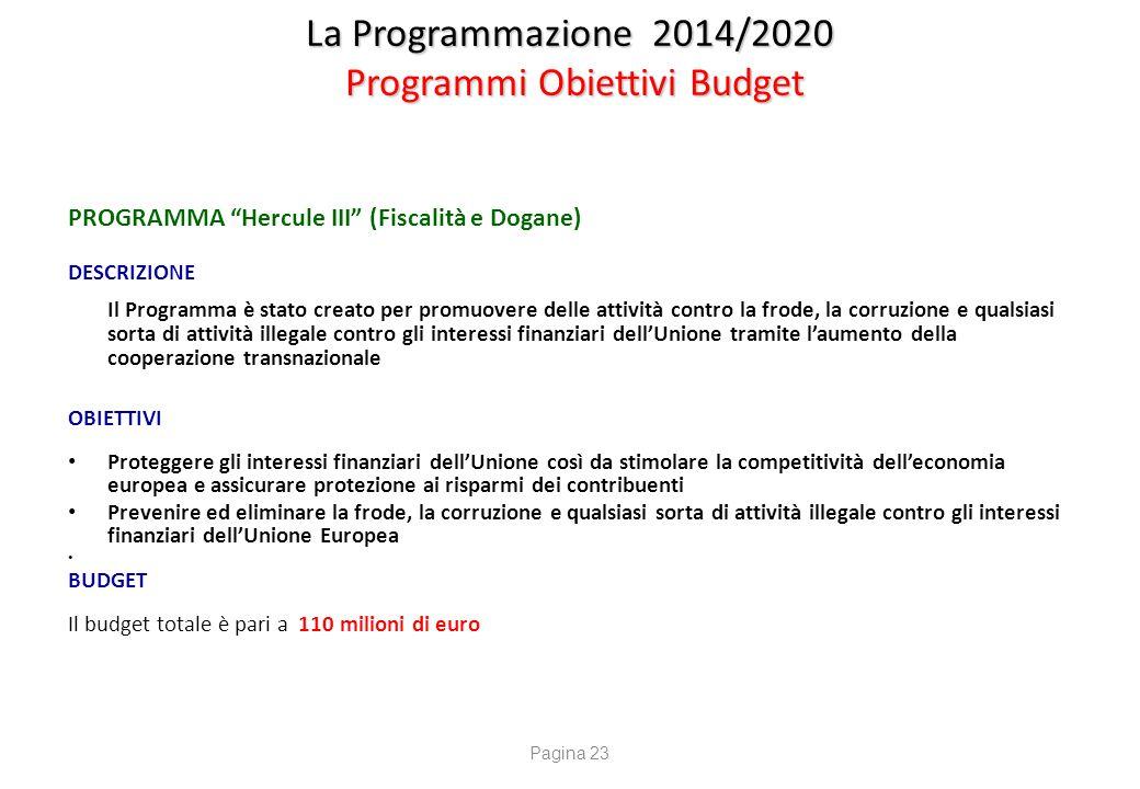 """La Programmazione 2014/2020 Programmi Obiettivi Budget PROGRAMMA """"Hercule III"""" (Fiscalità e Dogane) DESCRIZIONE Il Programma è stato creato per promuo"""
