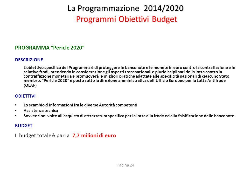 """La Programmazione 2014/2020 Programmi Obiettivi Budget PROGRAMMA """"Pericle 2020"""" DESCRIZIONE L'obiettivo specifico del Programma è di proteggere le ban"""
