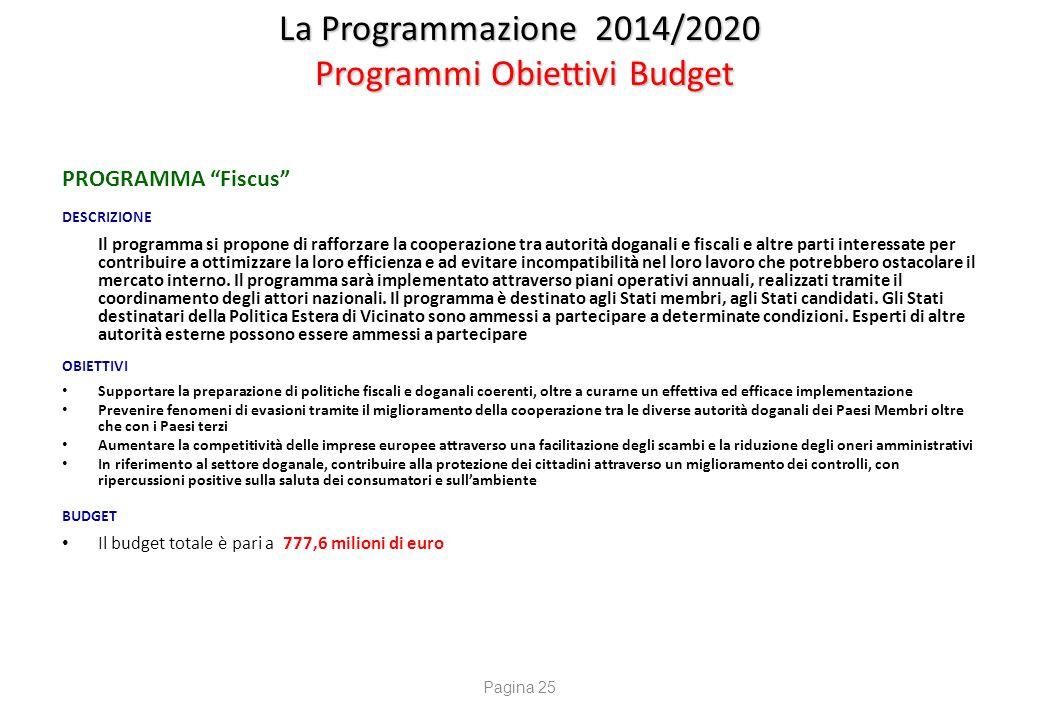 """La Programmazione 2014/2020 Programmi Obiettivi Budget PROGRAMMA """"Fiscus"""" DESCRIZIONE Il programma si propone di rafforzare la cooperazione tra autori"""