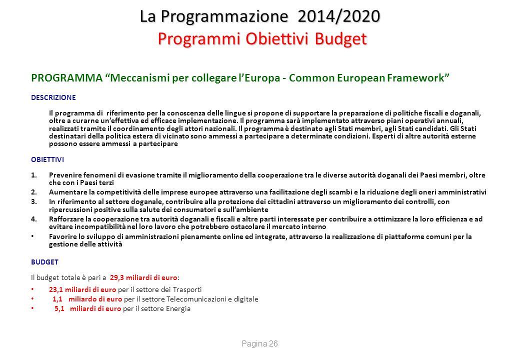 """La Programmazione 2014/2020 Programmi Obiettivi Budget PROGRAMMA """"Meccanismi per collegare l'Europa - Common European Framework"""" DESCRIZIONE Il progra"""