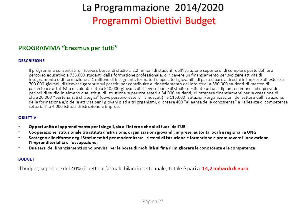 """La Programmazione 2014/2020 Programmi Obiettivi Budget PROGRAMMA """"Erasmus per tutti"""" DESCRIZIONE Il programma consentirà di ricevere borse di studio a"""