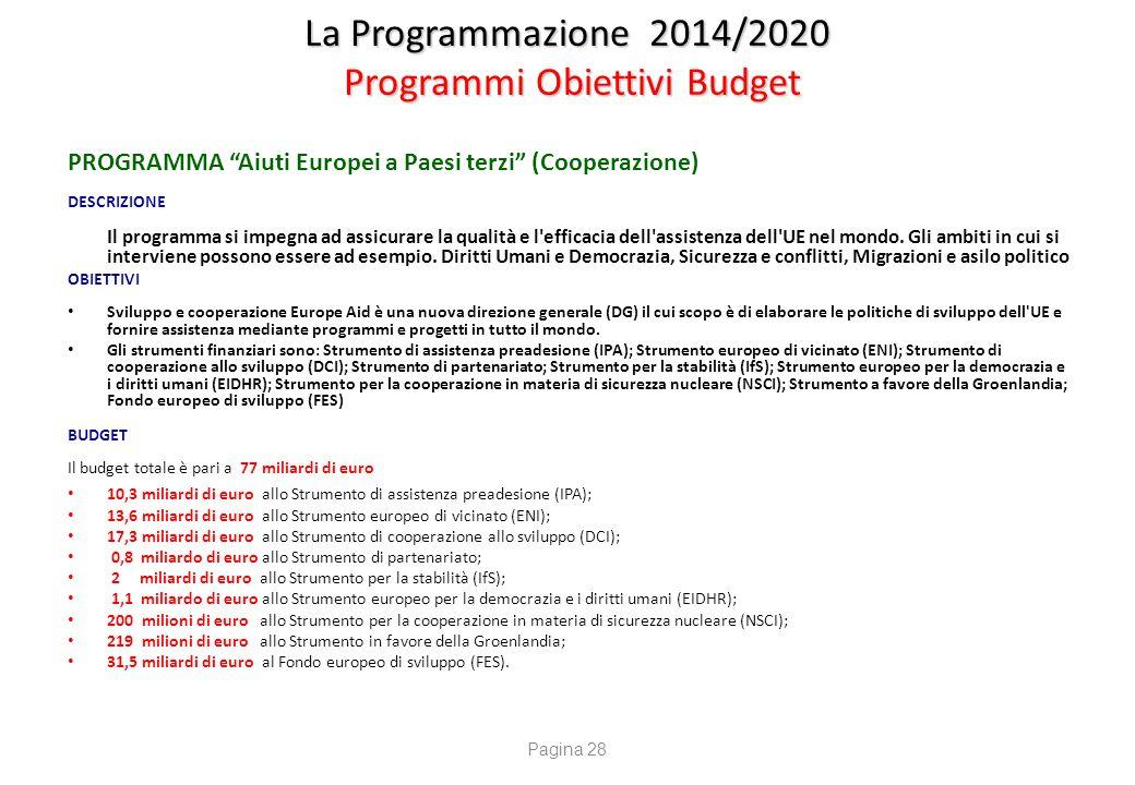 """La Programmazione 2014/2020 Programmi Obiettivi Budget PROGRAMMA """"Aiuti Europei a Paesi terzi"""" (Cooperazione) DESCRIZIONE Il programma si impegna ad a"""