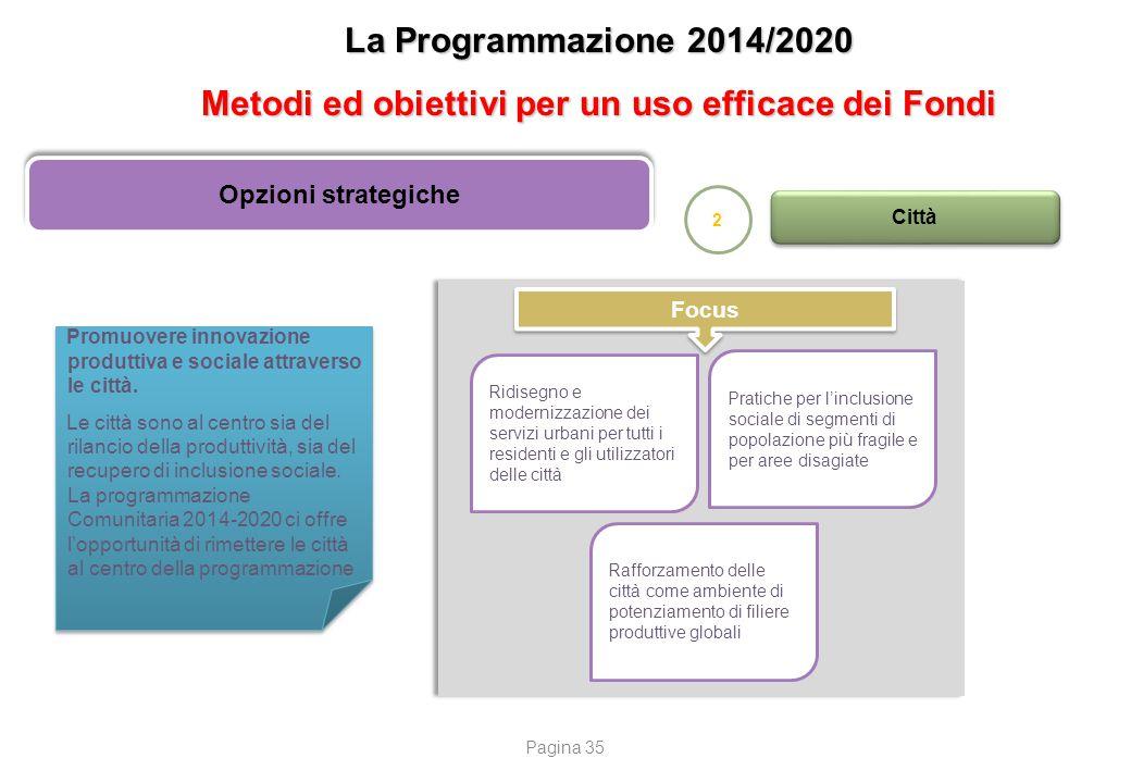 La Programmazione 2014/2020 Metodi ed obiettivi per un uso efficace dei Fondi Opzioni strategiche 2 Città Promuovere innovazione produttiva e sociale