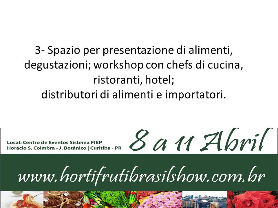3- Spazio per presentazione di alimenti, degustazioni; workshop con chefs di cucina, ristoranti, hotel; distributori di alimenti e importatori.