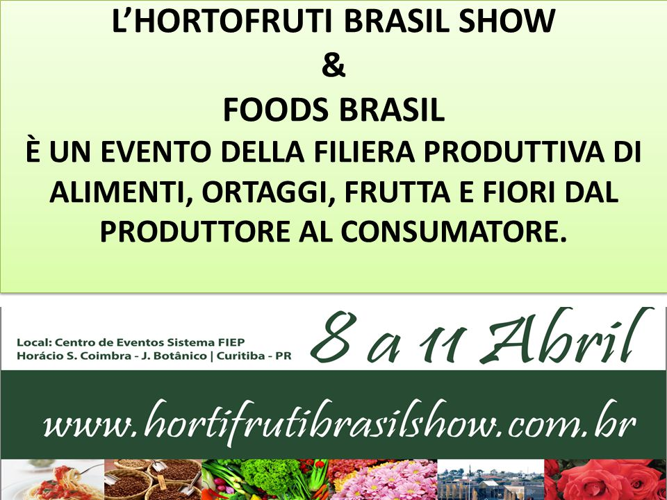 IL PARANÁ COME MERCATO DI OPPORTUNITÀ La Capitale, Curitiba, detiene il 37% del Mercato Alimentare del Paraná con un consumo medio di 190 grammi pro capite al giorno.