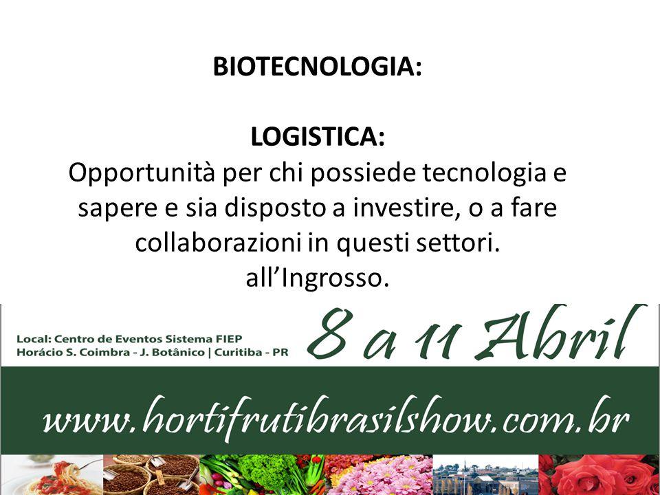 BIOTECNOLOGIA: LOGISTICA: Opportunità per chi possiede tecnologia e sapere e sia disposto a investire, o a fare collaborazioni in questi settori. all'