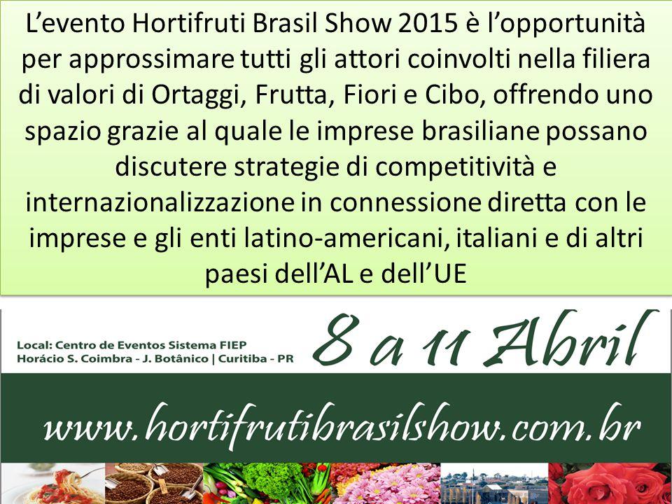 L'evento Hortifruti Brasil Show 2015 è l'opportunità di negoziare trasferimenti di tecnologie che possano contribuire nel miglioramento della gestione, operatività e innovazione del settore, e ancora ampliare le possibilità di accesso ai mercati.