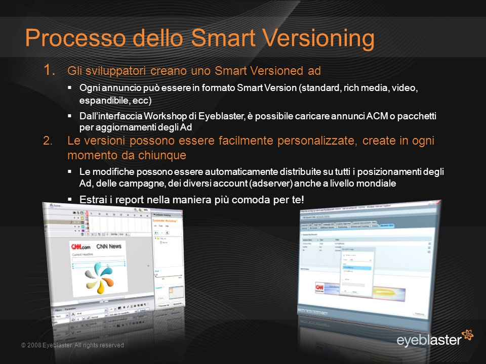 © 2008 Eyeblaster. All rights reserved Processo dello Smart Versioning 1.