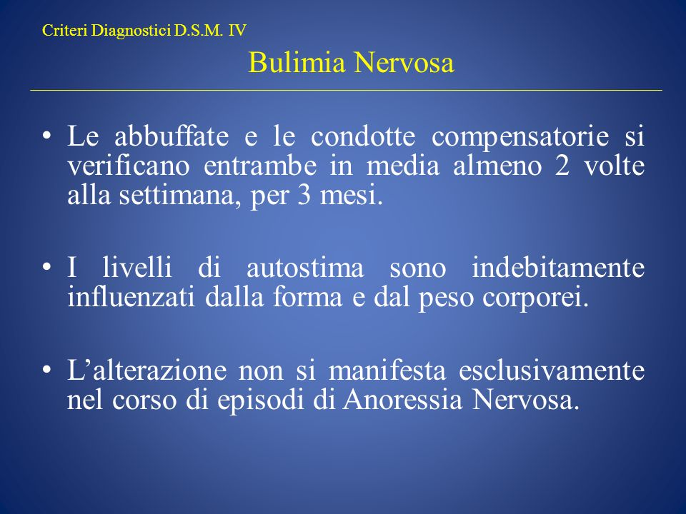 Criteri Diagnostici D.S.M.