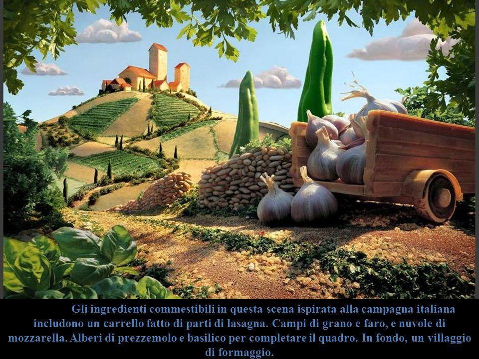 Gli ingredienti commestibili in questa scena ispirata alla campagna italiana includono un carrello fatto di parti di lasagna. Campi di grano e faro, e