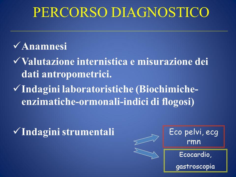 PERCORSO DIAGNOSTICO Anamnesi Valutazione internistica e misurazione dei dati antropometrici. Indagini laboratoristiche (Biochimiche- enzimatiche-ormo