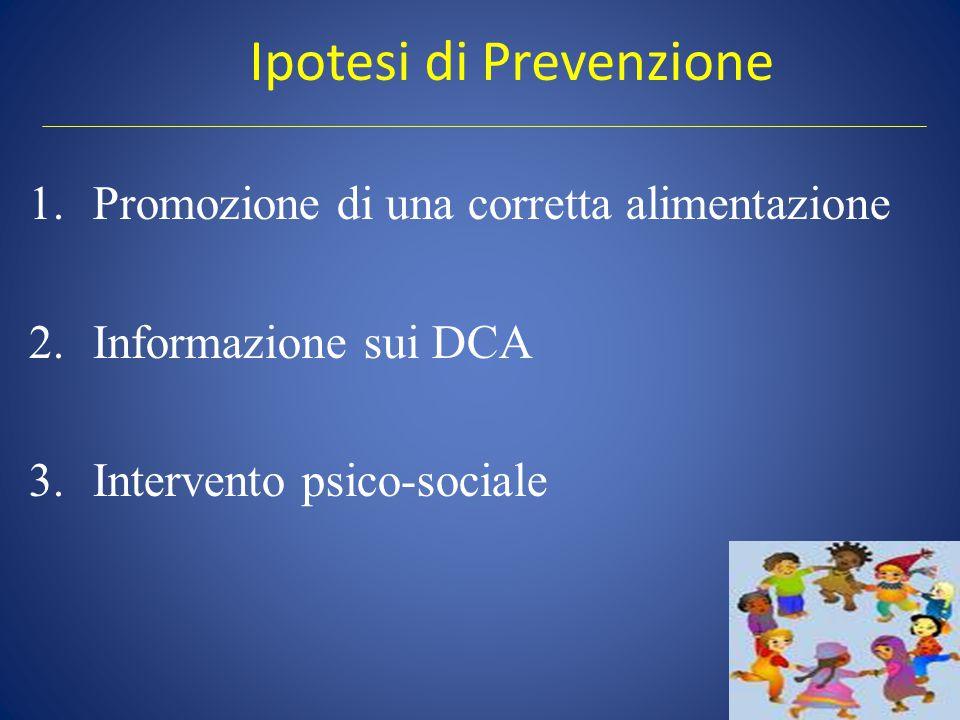 Ipotesi di Prevenzione 1.Promozione di una corretta alimentazione 2.Informazione sui DCA 3.Intervento psico-sociale