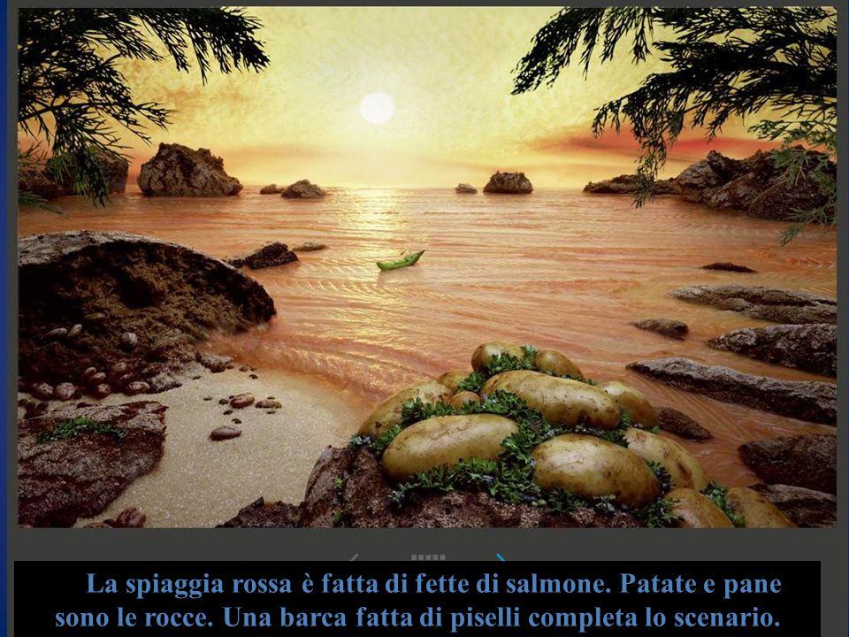 La spiaggia rossa è fatta di fette di salmone. Patate e pane sono le rocce. Una barca fatta di piselli completa lo scenario.