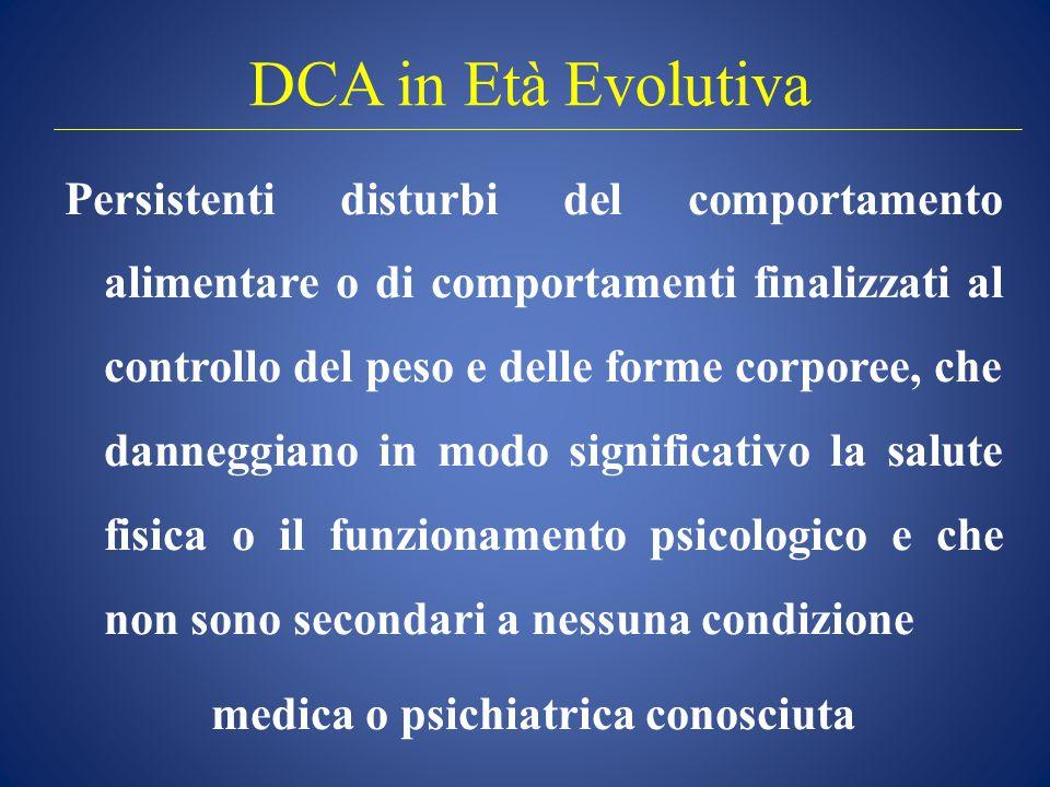 DCA in Età Evolutiva Persistenti disturbi del comportamento alimentare o di comportamenti finalizzati al controllo del peso e delle forme corporee, ch