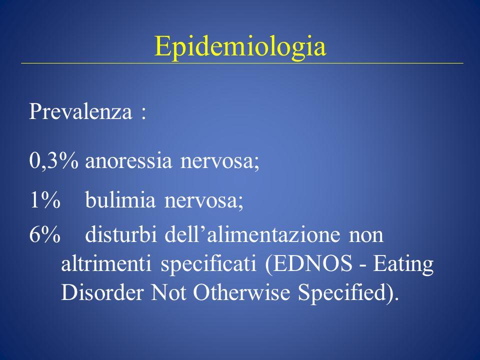 Epidemiologia Prevalenza : 0,3% anoressia nervosa; 1% bulimia nervosa; 6% disturbi dell'alimentazione non altrimenti specificati (EDNOS - Eating Disorder Not Otherwise Specified).