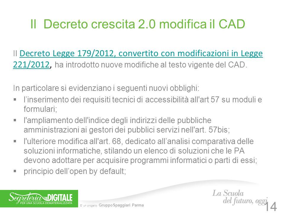 E' un progetto GruppoSpaggiari Parma Il Decreto crescita 2.0 modifica il CAD Il Decreto Legge 179/2012, convertito con modificazioni in Legge 221/2012