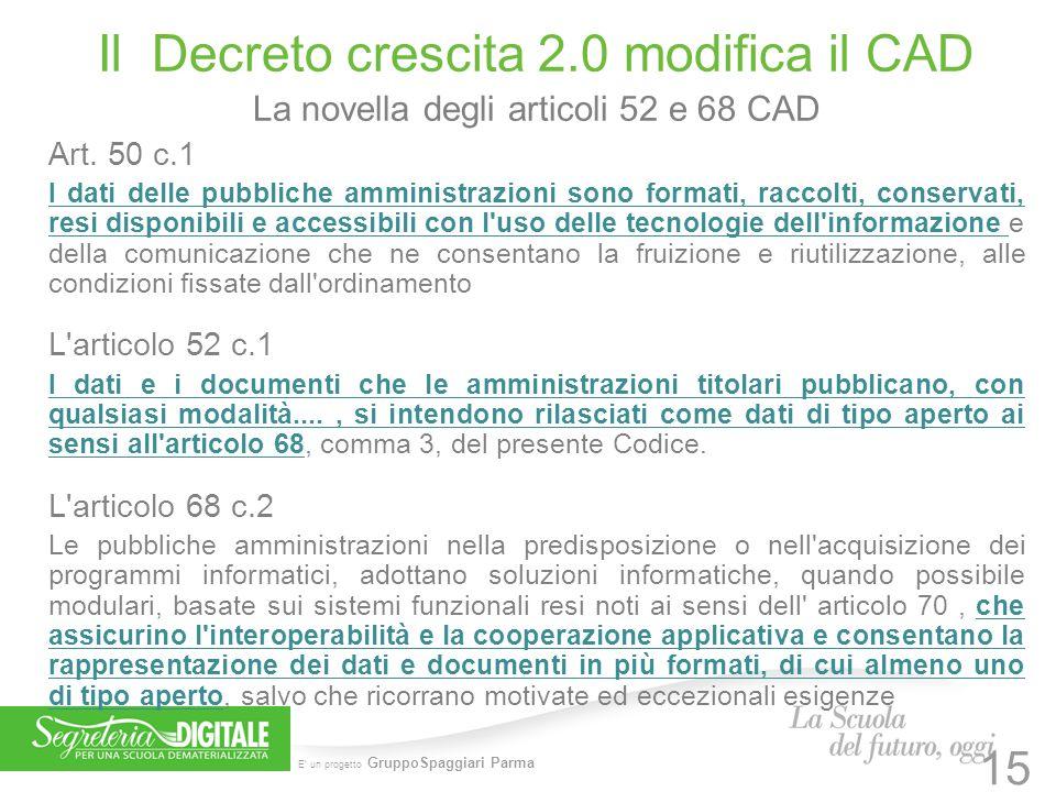 E' un progetto GruppoSpaggiari Parma Il Decreto crescita 2.0 modifica il CAD La novella degli articoli 52 e 68 CAD Art. 50 c.1 I dati delle pubbliche