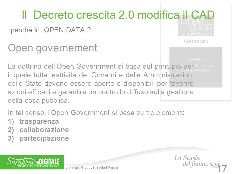 E' un progetto GruppoSpaggiari Parma Il Decreto crescita 2.0 modifica il CAD perché in OPEN DATA ? 17 Open governement La dottrina dell'Open Governmen