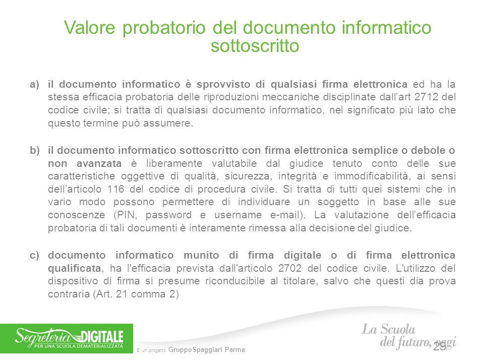 E' un progetto GruppoSpaggiari Parma a)il documento informatico è sprovvisto di qualsiasi firma elettronica ed ha la stessa efficacia probatoria delle