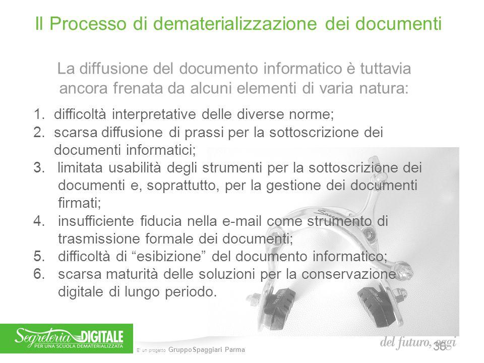 E' un progetto GruppoSpaggiari Parma Il Processo di dematerializzazione dei documenti La diffusione del documento informatico è tuttavia ancora frenat
