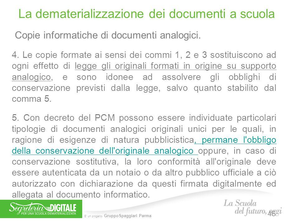 E' un progetto GruppoSpaggiari Parma Copie informatiche di documenti analogici. 4. Le copie formate ai sensi dei commi 1, 2 e 3 sostituiscono ad ogni