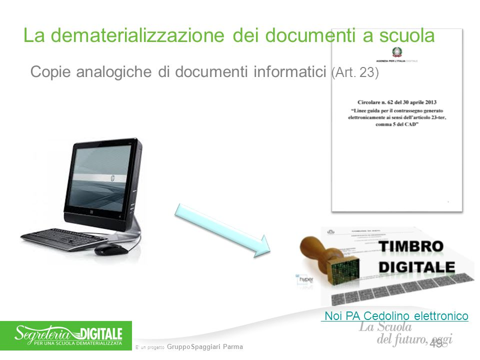 E' un progetto GruppoSpaggiari Parma Copie analogiche di documenti informatici (Art. 23) La dematerializzazione dei documenti a scuola Noi PA Cedolino