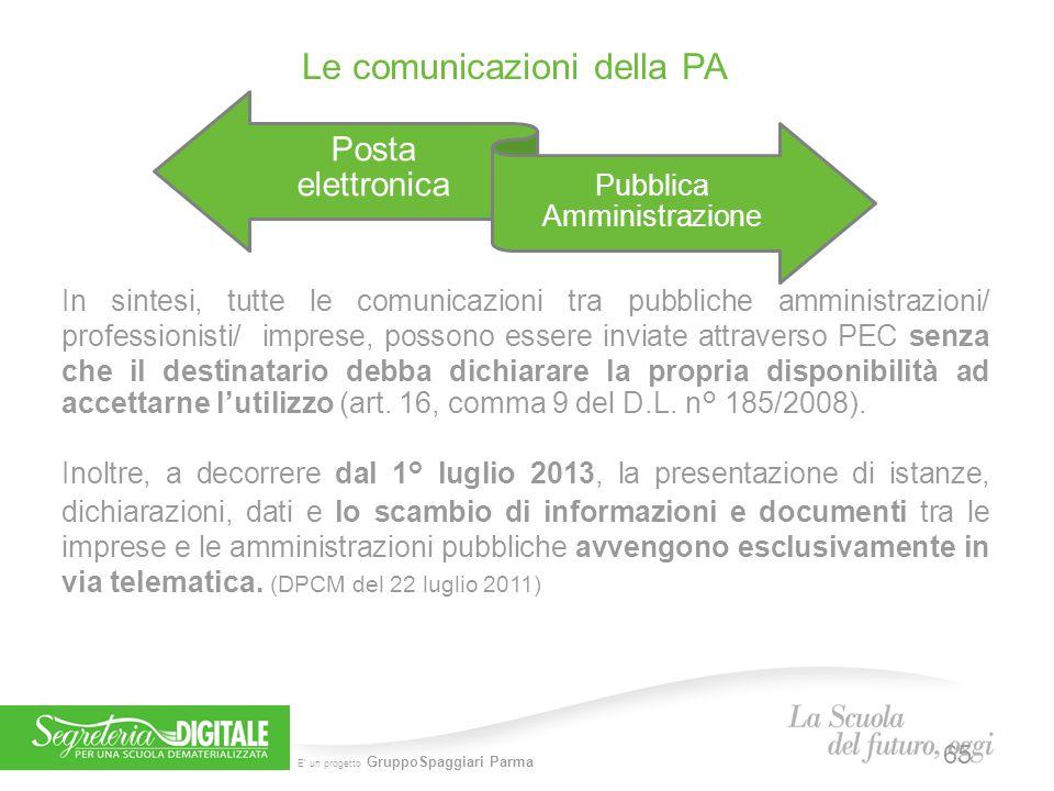 E' un progetto GruppoSpaggiari Parma Posta elettronica Pubblica Amministrazione Le comunicazioni della PA In sintesi, tutte le comunicazioni tra pubbl