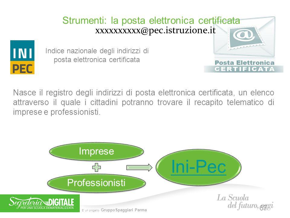E' un progetto GruppoSpaggiari Parma Strumenti: la posta elettronica certificata xxxxxxxxxx@pec.istruzione.it Nasce il registro degli indirizzi di pos