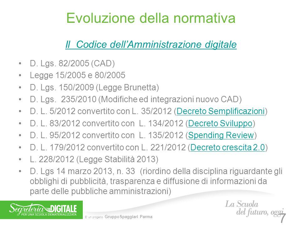 E' un progetto GruppoSpaggiari Parma Evoluzione della normativa Il Codice dell'Amministrazione digitale D. Lgs. 82/2005 (CAD) Legge 15/2005 e 80/2005