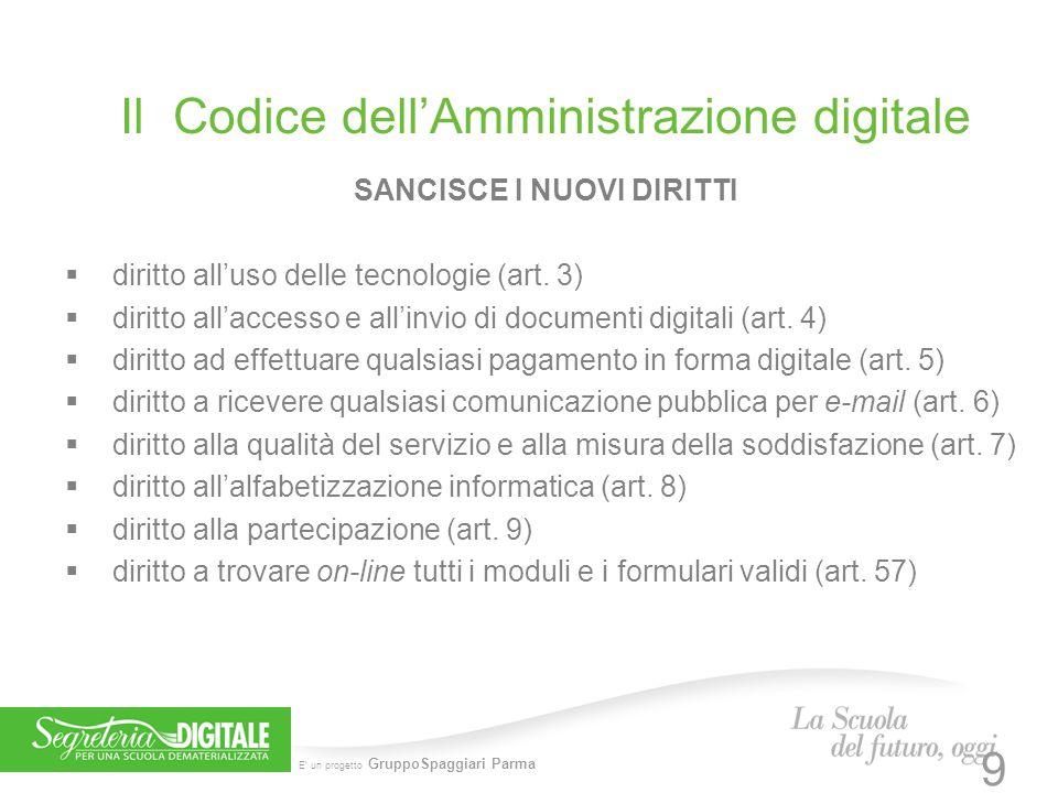 E' un progetto GruppoSpaggiari Parma Il Codice dell'Amministrazione digitale SANCISCE I NUOVI DIRITTI  diritto all'uso delle tecnologie (art. 3)  di
