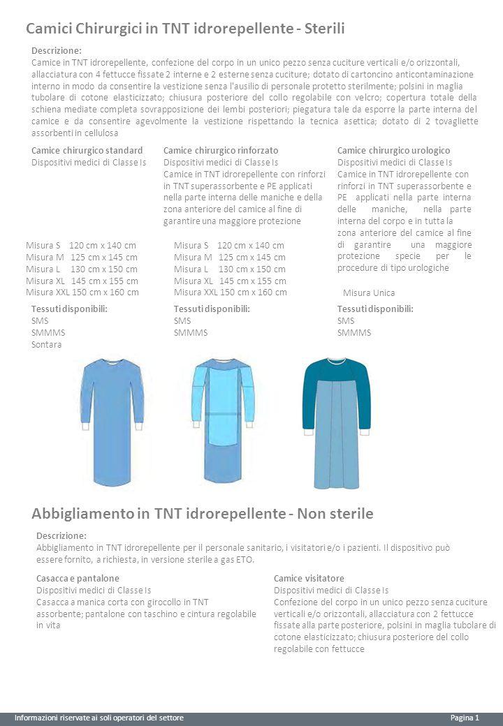Camici Chirurgici in TNT idrorepellente - Sterili Descrizione: Camice in TNT idrorepellente, confezione del corpo in un unico pezzo senza cuciture ver
