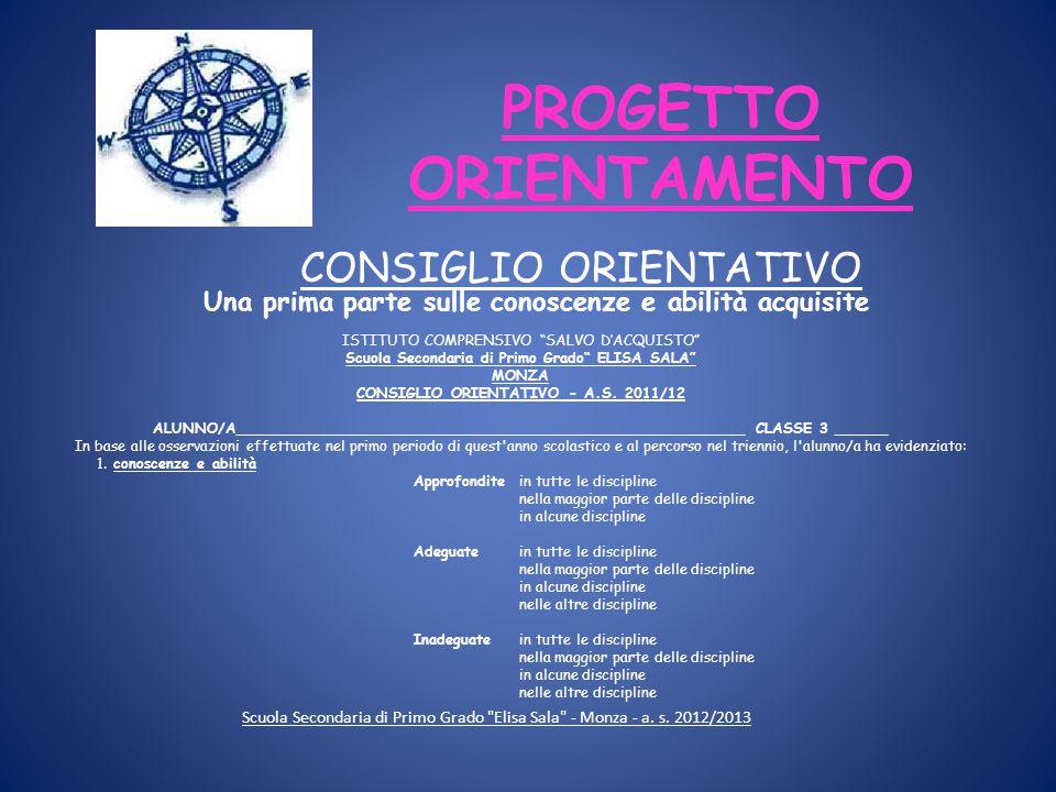 PROGETTO ORIENTAMENTO Scuola Secondaria di Primo Grado Elisa Sala - Monza - a.
