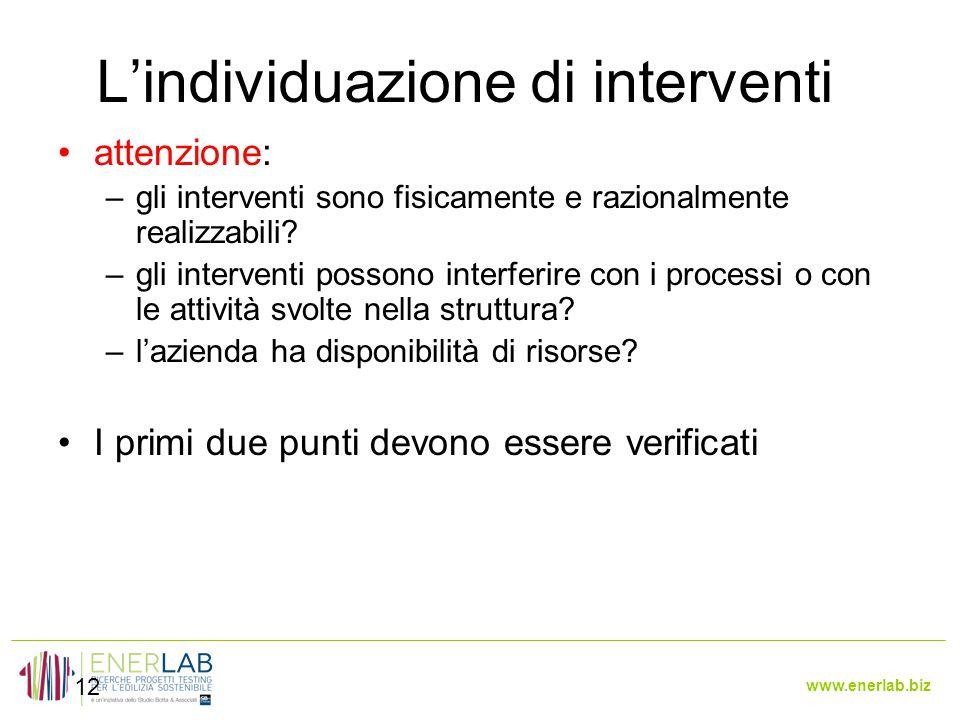 www.enerlab.biz L'individuazione di interventi 12 attenzione: –gli interventi sono fisicamente e razionalmente realizzabili.